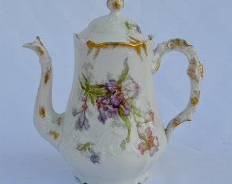French Vintage Limoges Porcelain Coffee Pot - Floral Iris Design - French Country Cottage Kitchenware - Cafe au Lait Petit Dejeuner