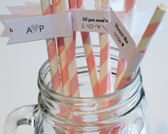 200 Bridal Shower Straws / Custom Straw Flags / Paper Straws / Personalized Straws / Party Straws / Drink Flags / Bridal Shower Favor