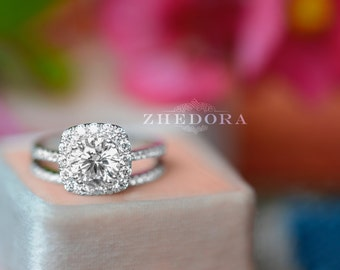 2.10 CT Round Halo Engagement Ring band Bridal set Solid 14k White Gold, Unique White Gold Engagement Rings by Zhedora