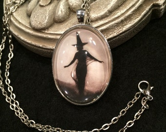 Witch Silhouette Bronze or Silver Pendant Necklace Gothic Victorian Halloween Wiccan