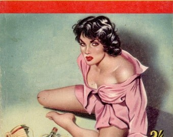 pulp art print Hellcat —  vintage pulp paperback cover repro