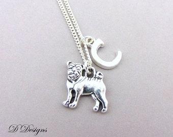 Pug Necklace, Personalised Pug Jewellery, Dog Necklace, Personalised Letter Necklace, Sterling Silver, Pug Gifts