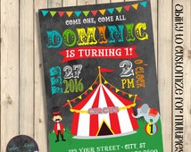 Circus First Birthday Invitation, Carnival Birthday Invite, Big Top Themed Chalkboard Birthday Invitations, Clown Birthday Invite, Printable