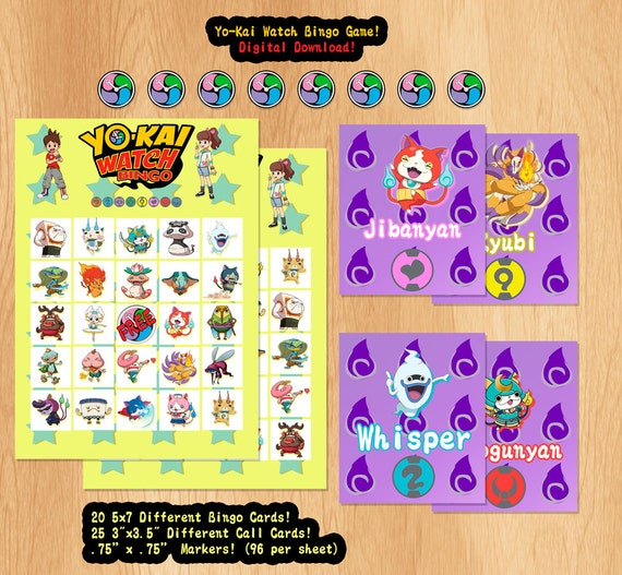 Yo-kai Watch Bingo Yokai Youkai Watch Digital Download 20