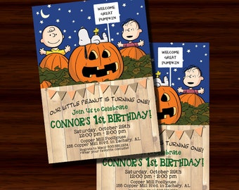 Great Pumpkin Invitation, Charlie Brown Great Pumpkin Invitation, First Birthday Invitation, 1st Birthday, Peanuts Invitation, Printable