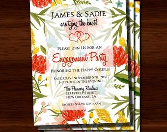 Floral Engagement Party Invitation, Engagement Party Invitation, Elegant Engagement Party Invitation, Wedding Shower, Digital Printable