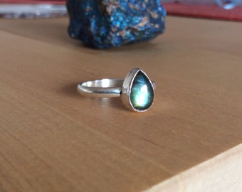 Labradorite Teardrop Sterling Silver Ring