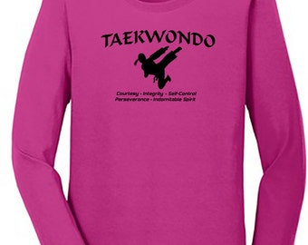 Ladies Taekwondo tenets and fighter long sleeve shirt pink, you pick size.
