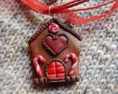 Sweet hom, Christmas necklaces , polymer clay , handmade, necklaces New Year , Christmas Gift Party , brown necklaces , jewelry Christmas