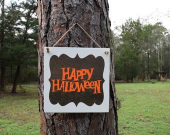 Happy Halloween Decoration. Solid Wood, Hand Painted 1-sided Sign - Get Your Spooky on!!