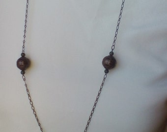 Copper and chain necklace