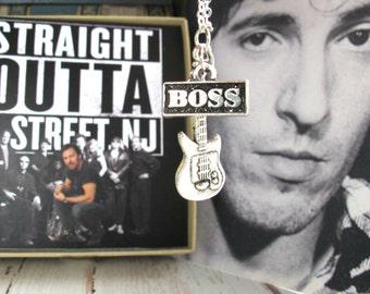 BRUCE SPRINGSTEEN GIFT-Straight Outta E-Street-Bruce Springsteen Necklace-The Boss Necklace-Bruce Springsteen- The River Tour Necklace