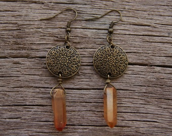 Orange Quartz Crystal Earrings / Crystal Point Earrings / Bronze Boho Earrings