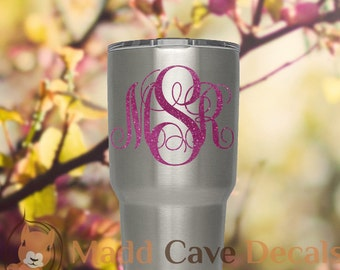 Yeti Glitter Monogram Vinyl Decal | Yeti Cup Decal | Yeti Decal For Women | Yeti Glitter Decal