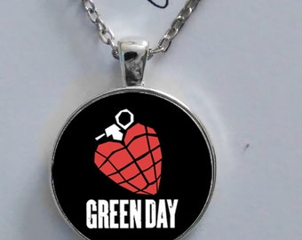 Green Day American Rock Band logo glass pendant silver chain necklace