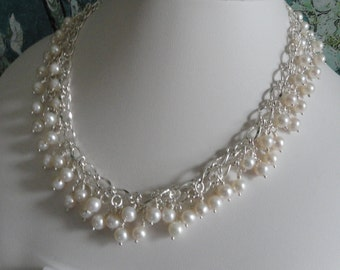 Pearl necklace and earring set  -   #444