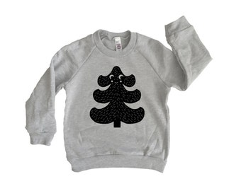 Tannenbaum Sweatshirt, Kids Toddler Christmas Sweatshirt, long sleeve raglan shirt, holiday shirt, kids christmas tree outfit, Kids outdoor