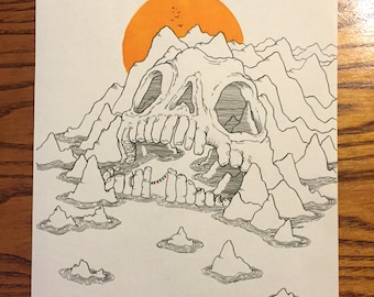 Sunrise Over Skull Island Original Drawing