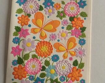 Vintage Orange & Yellow Butterfly in Zinnia Flower Garden Birthday Greeting Card ~ Used