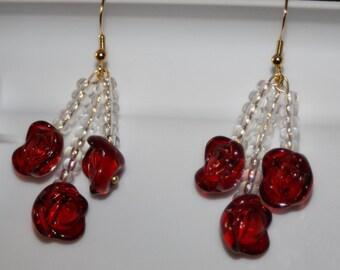 Glass Red Rose Earrings