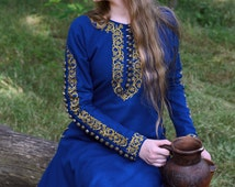 "Medieval dress ""Sapphire"", Elven dress, Historical dress, Games of thrones, Fantasy Dress, Fairy dress, Cosplay."