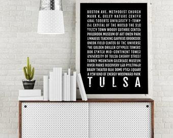 Tulsa Print, Tulsa Subway Sign Poster, Oklahoma Wall Art, Décor, Canvas, Gift, Bus Scroll, Typography, Minimal, Custom, Personalized