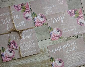 Printable Wedding Invitation, Rustic Wood & Rose Wedding Invitation, Floral Wedding Invitation, Vintage Wedding Invitation, Digital File