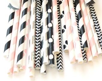 Pink, black, and silver straws-set of 25- baby showers, wedding straws,pink, black and silver, hollywood parties, birthday parties