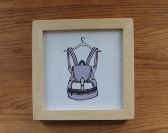 Backpack wood framed illustration