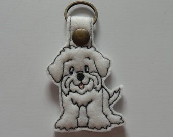 Maltese (Embroidery/Felt/Keychain)