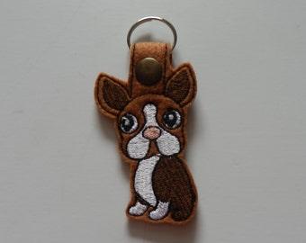 Boston Terrier (Embroidery/Felt/Keychain)