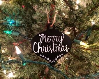 Chalk Art Ornament / Christmas Ornament / Merry Christmas / Chalk Ornament