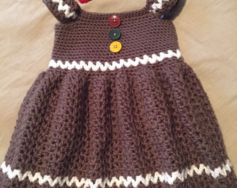Gingerbread Christmas Dress & Hairbow Clip
