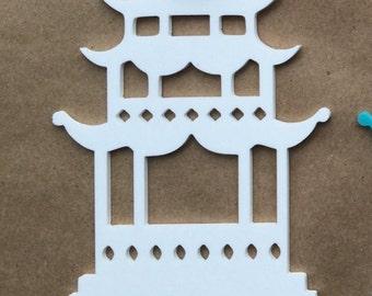 Acrylic chinoiserie Christmas ornaments White  Pagoda