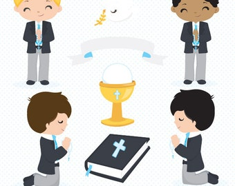 Boy First Communion clipart, Religious clipart, Cute Communion Boys clipart, cross clipart, bible clipart, Commercial License Included