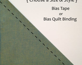 Handmade Bias Tape or Quilt Binding, Bias Binding, Made to Order, 100% Cotton, Chambray, Crossweave, Andover, Bluegrass, Blue, Custom
