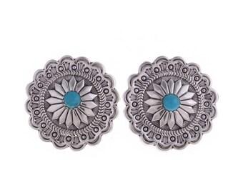 Turquoise Navajo Tribal Native American Concho Boho Sterling Silver Earrings