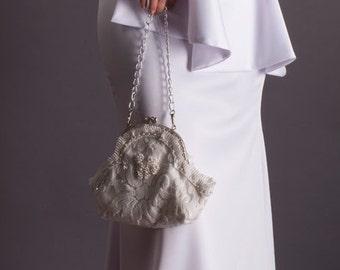 Bridal Clutch, Bridal purse, , wedding clutch, Lace bridal Clutch bag | Vintage style clutch | Bridal clutch bag ivory