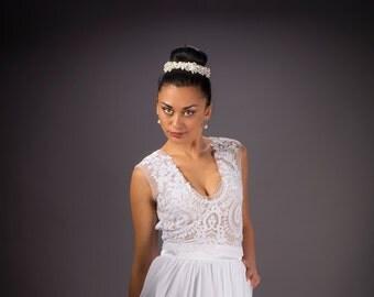 Boho chic Wedding dress, V neckline Wedding dress, Chiffon wedding dress, Lace  Bridal dress, Backless Bridal dress, Lace wedding dress