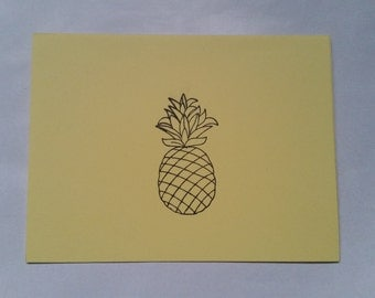 Tropical Pineapple Handmade Recycled Stationery - Set of 10