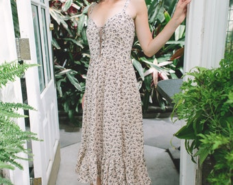 Vintage Free People Dress Floral Print with Lace Up Top