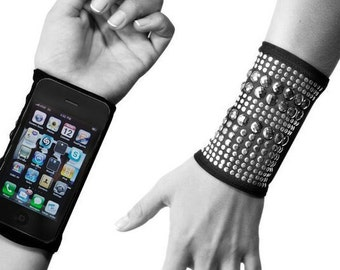 Cell Phone black nylon knit mesh Wristband, Rhinestone & silver studs