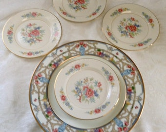 4 Homer Laughlin Bread Plates in Eggshell Georgian Bombay China Pattern Excellent Shape 1940s Vintage