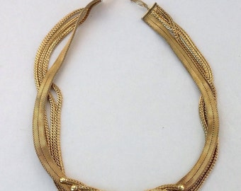 Gorgeous Retro Vintage Henkel & Grosse Art Deco gilt mesh necklace Germany 1960