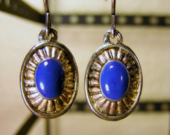 Silver and Blue Stone Dangle Earrings