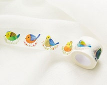 Birds Wide Washi Tape 30mm x 10m, Deco Sticker Masking Adhesive, Colorful Pretty Summer, Flower Nest