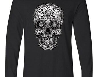 Sugar Skull Black & White Long Sleeve T-Shirt Cool Fashion Day Of The Dead Dia De Los Muertos Gothic T-Shirts