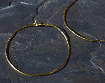 "Gold Hoop Earrings 2"", Hammered Gold Hoops, Hammered Earrings , Simple Hoops"