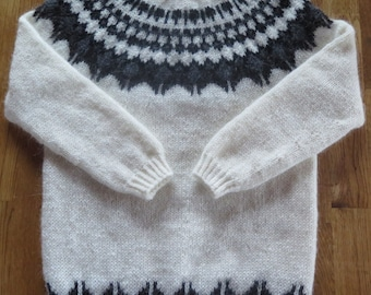 Icelandic traditional natural wool sweater, type: Glaciana # 2. Hand knitted by Thora Sigurdar. - Wool fiber artist.