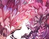 Limited Edition Rose Dusk Unicorn Bronze Fairy Tale Forest Illustration Art Print of Original Watercolor Illustration